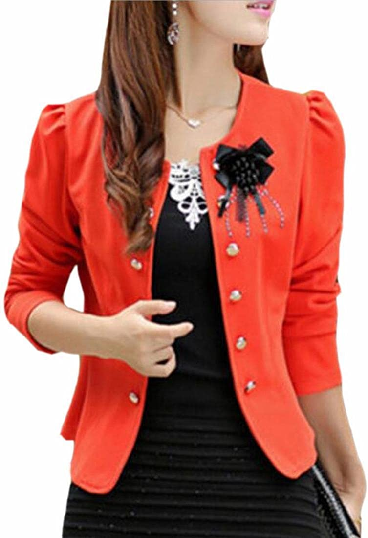 TTYLLMAO Women Casual Double Breasted Office Work Peplum Blazers Jacket
