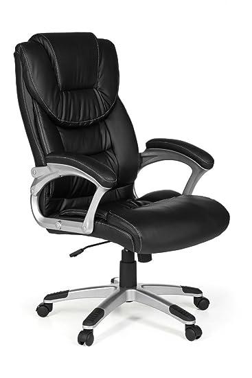 AMSTYLE, Bürostuhl, Madrid, Bezug Kunstleder Schwarz Schreibtischstuhl  Design X XL 120 Kg