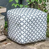 Izabela Peters Designer Waterproof Moroccan Garden Outdoor Cube Pouffe - Grey & White Bahia, Marrakech Collection - Designed, Printed & Handmade in the UK