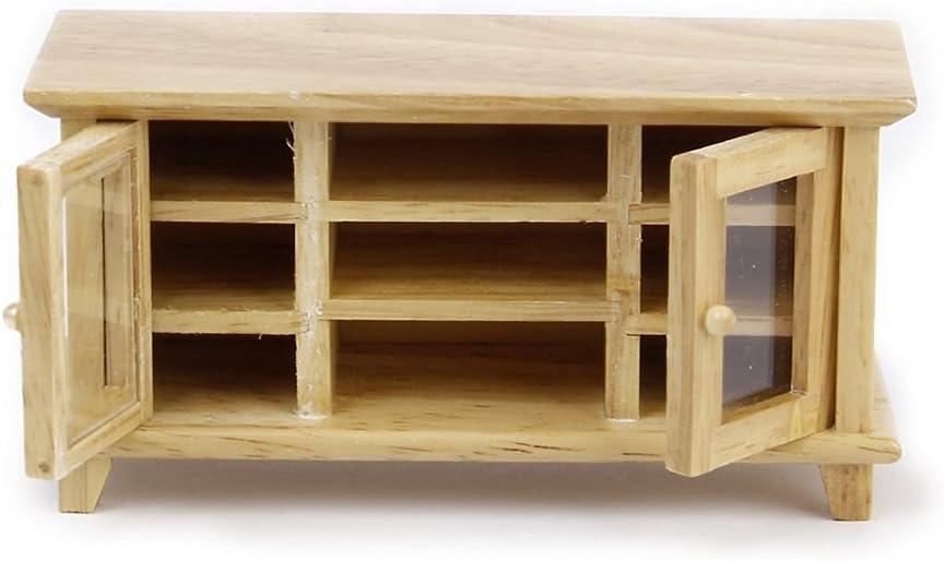 cadeau Meuble de salon Tinksky Mobilier de maison de poup/ée miniature 1: 12/ maquilleuse accessoires pour enfants meuble TV en bois jouets