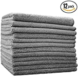 (12-Pack) 16'' x 16'' Professional Grade All-Purpose Microfiber Cleaning Towel - THE RAG COMPANY (Grey) by THE RAG COMPANY