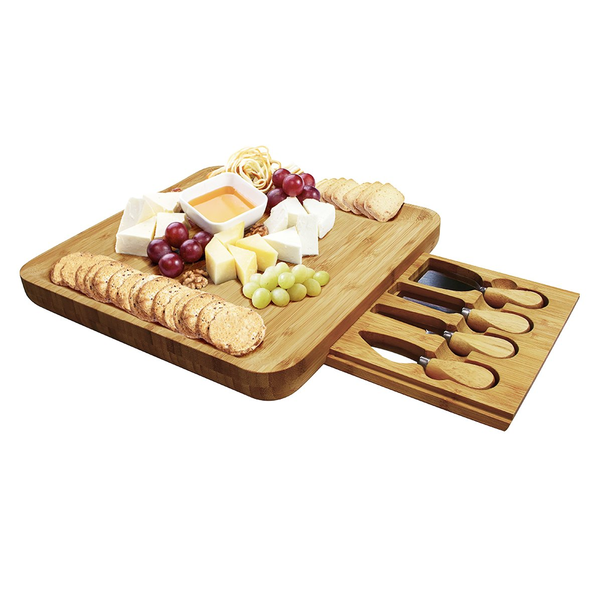 100% Natural Grain Bamboo Cutting Board Set Cheese Tray with Utensil Drawer Organizer 4 Stainless Steel Cheese Knives (Serving Plate, Plate, Parmesan Cheese, Soft Cheese Knife Scraper) MINIS PLA-ZSB-EU