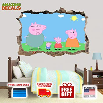 Amazon Com Amazing Decalz Peppa Pig Family Graphic Broken Wall 3d