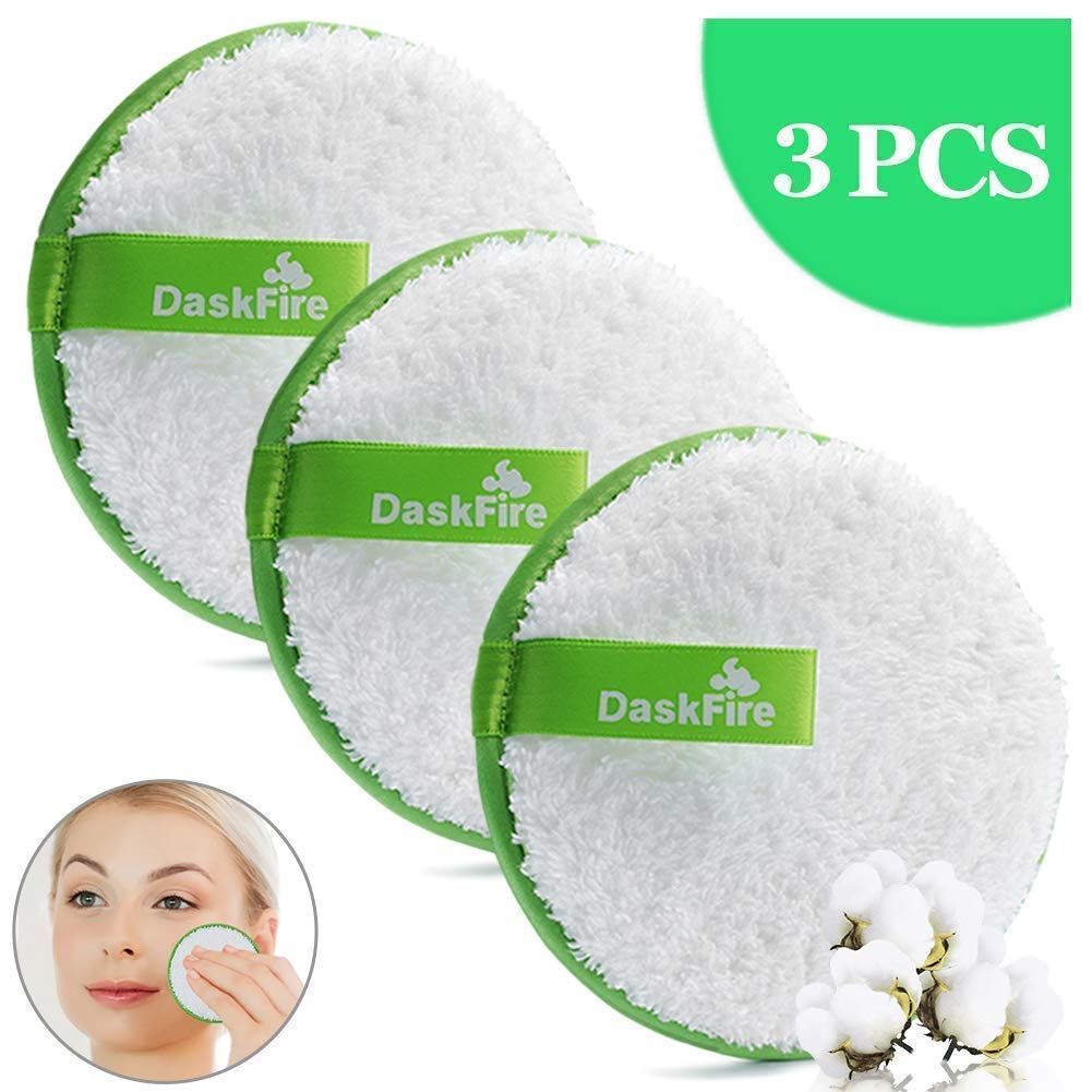 """Makeup Remover Pads Reusable, Facial Make Up Removal Wipes, Washable Face Cleaning Cloths, Soft Cotton Rounds Towelettes, Hypoallergenic for Mascara, Eye Shadow, Lipstick, Foundation -3 pcs, 4.5"""" Dia"""