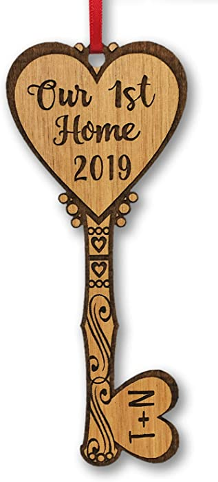 Our First Home Key to Couples Heart Personalized Wood Ornament Housewarming Home Decor Ornament Custom New Home Newlyweds Newly Married Engaged from Realtor