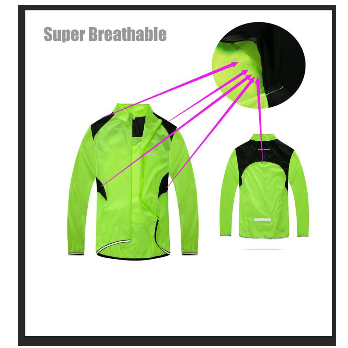 RUIKODOM Quick Dry Sports Jacket Cycling Running /& Walking High Visibility Reflective Mens Windproof Coat