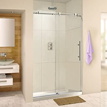 10 mm 76 Height Frameless Sliding Shower Door Clear Tempered Glass Brushed Stainless Steel Finish Designed For Smooth Door Closing 44-48 Width MBSDC4876-B 3//8
