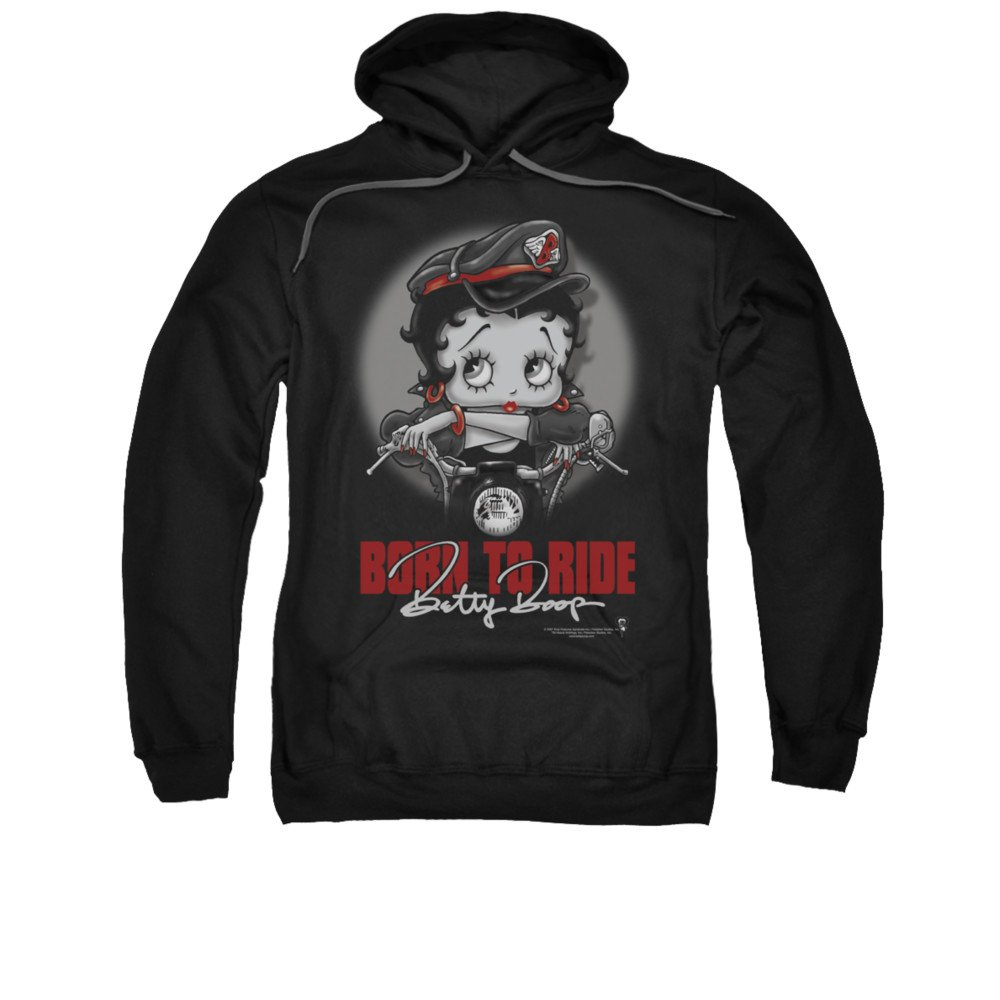 Betty Boop Cartoon Born To Ride Betty Biker Babe Adult Pull-Over Hoodie Trevco