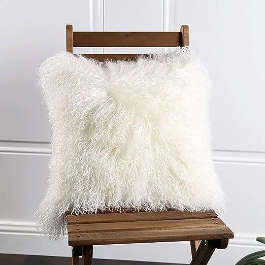 100% Piel Funda de almohada Funda de cojín de piel de cordero de lana de oveja de Mongolia de tibetano blanco