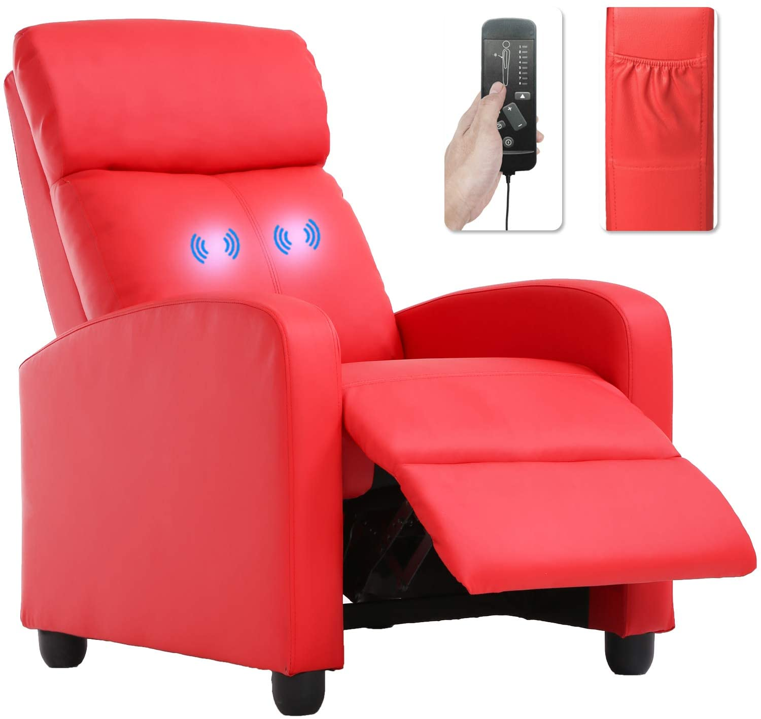 Recliner Chair for Living Room Massage Recliner Sofa Reading Chair Winback Single Sofa Home Theater Seating Modern Reclining Chair Easy Lounge with PU Leather Padded Seat Backrest (Red)