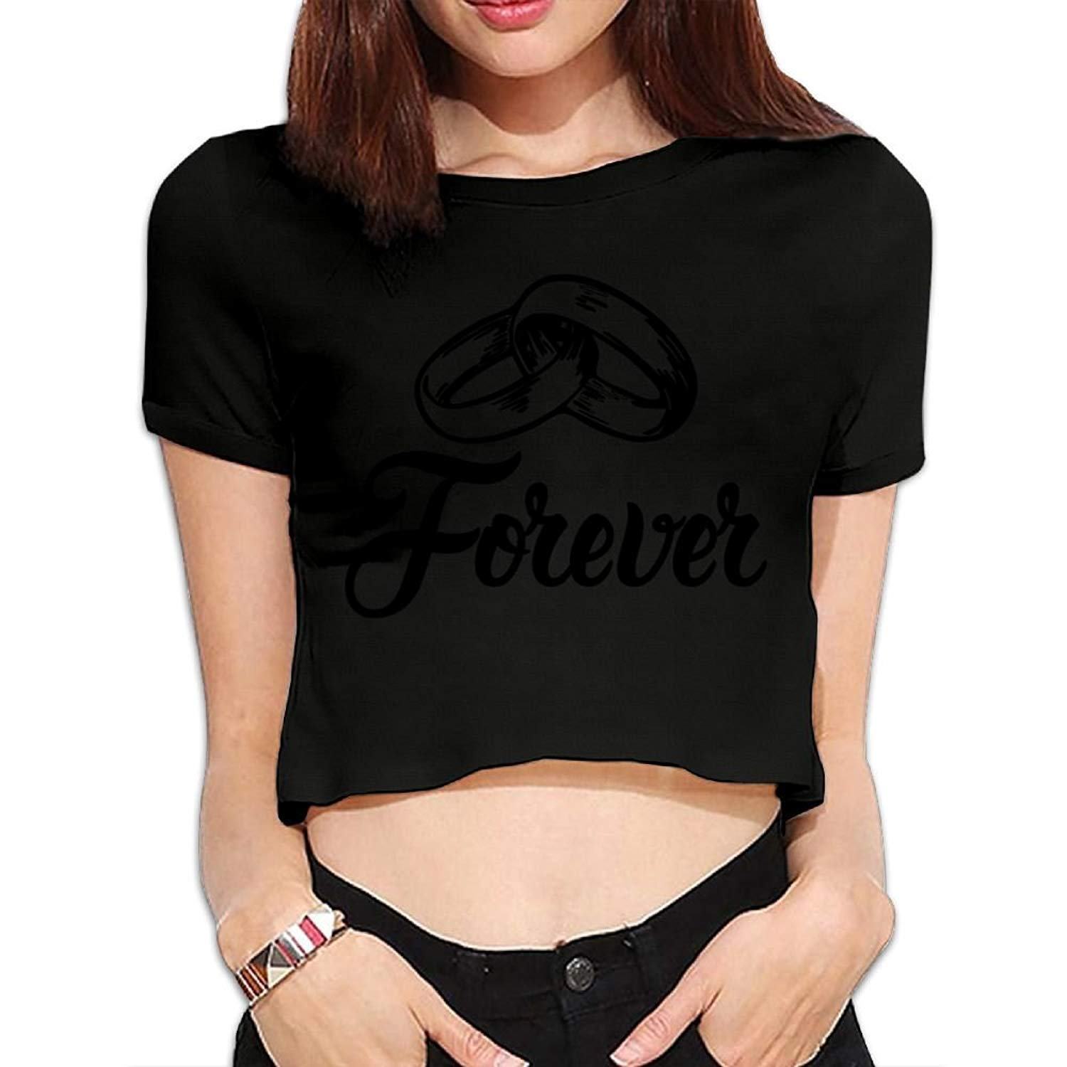 BHRETI Women Exposed Navel T-Shirts Sexy Forever Wedding Bands Fitted