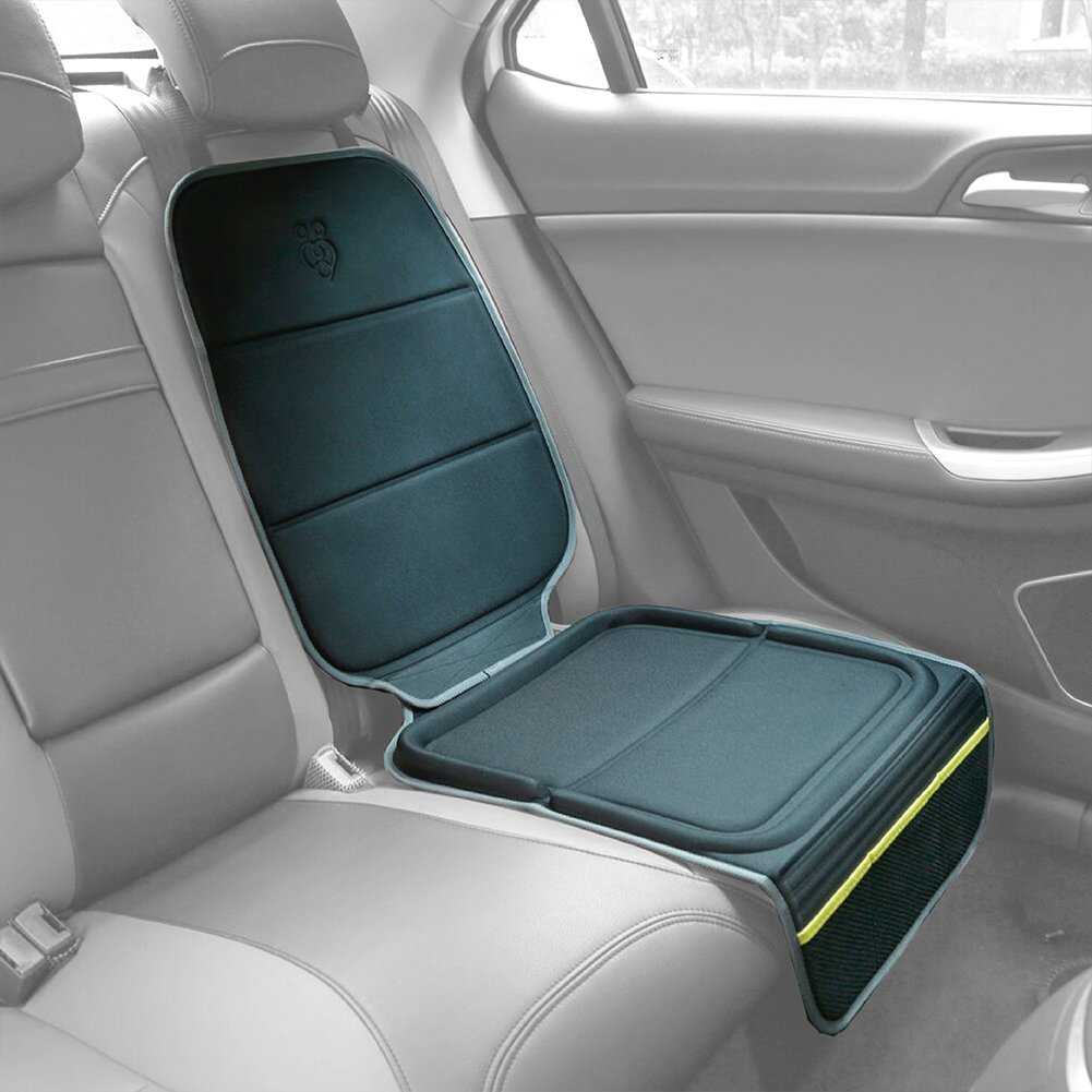 Parenthings Premium Auto Convertible Thermo-Molded Back Seat Protector with Anti-Slip Dual-Grip Upholstery Protection with Storage Pockets.