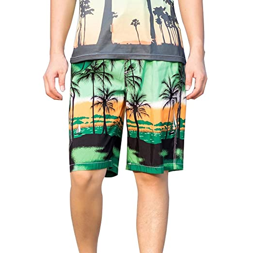 3471025cb56 Wkgre Men s Hawaiian Short Pants Beach Surfing Swim Sportswear Elastic  Fitness Training Trunks Running Pants Plus