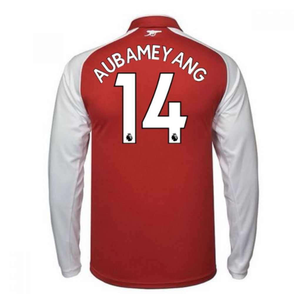 2017-18 Arsenal Home Long Sleeve Shirt Kids (Aubameyang 14) B079NWC1QXRed Small Boys 24/26\