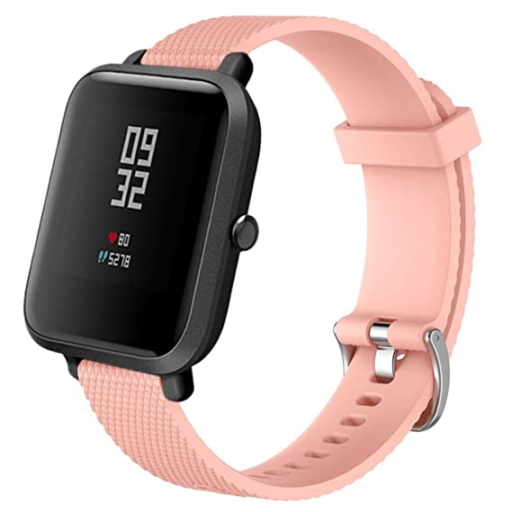 10 Colors Watch Strap for Smart Watch, 20MM Replacement Soft Silicagel Sports Watch Band Strap For Xiaomi Amazfit Bip Youth Watch (Pink)