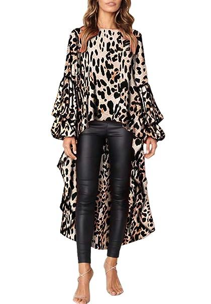 23c06e4b019 Yonala Women's Puff Long Sleeve Leopard Tunic Shirts High Low Hem Round  Neck Casual Tops Blouses at Amazon Women's Clothing store: