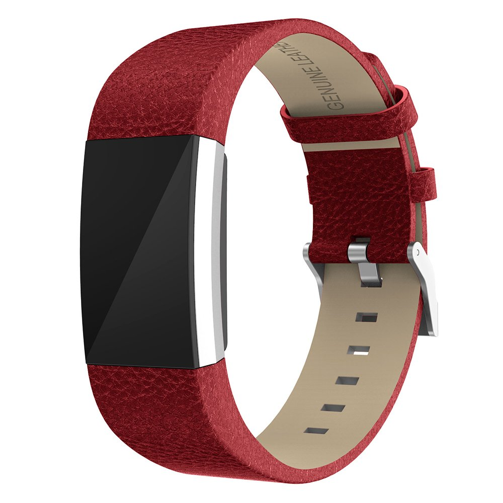 Fitbit Charge 2 Replacement Soft Calf Genuine Leather Watchband,Feskio Accessory Leather Classic Wrist Strap Band Bracelet for Fitbit Charge 2 Wrist Band