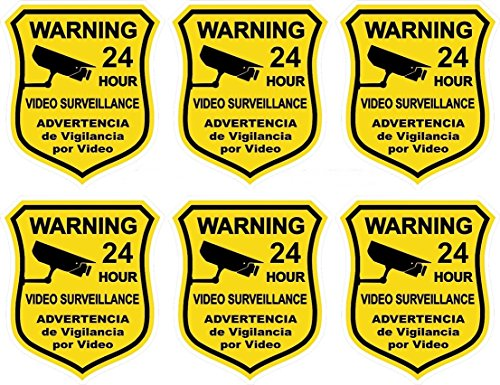 6 Pcs Attractive Popular Security Sticker Defense Signs Anti-Robber Windows Reflective 24 Hour Alarm Size 3.5