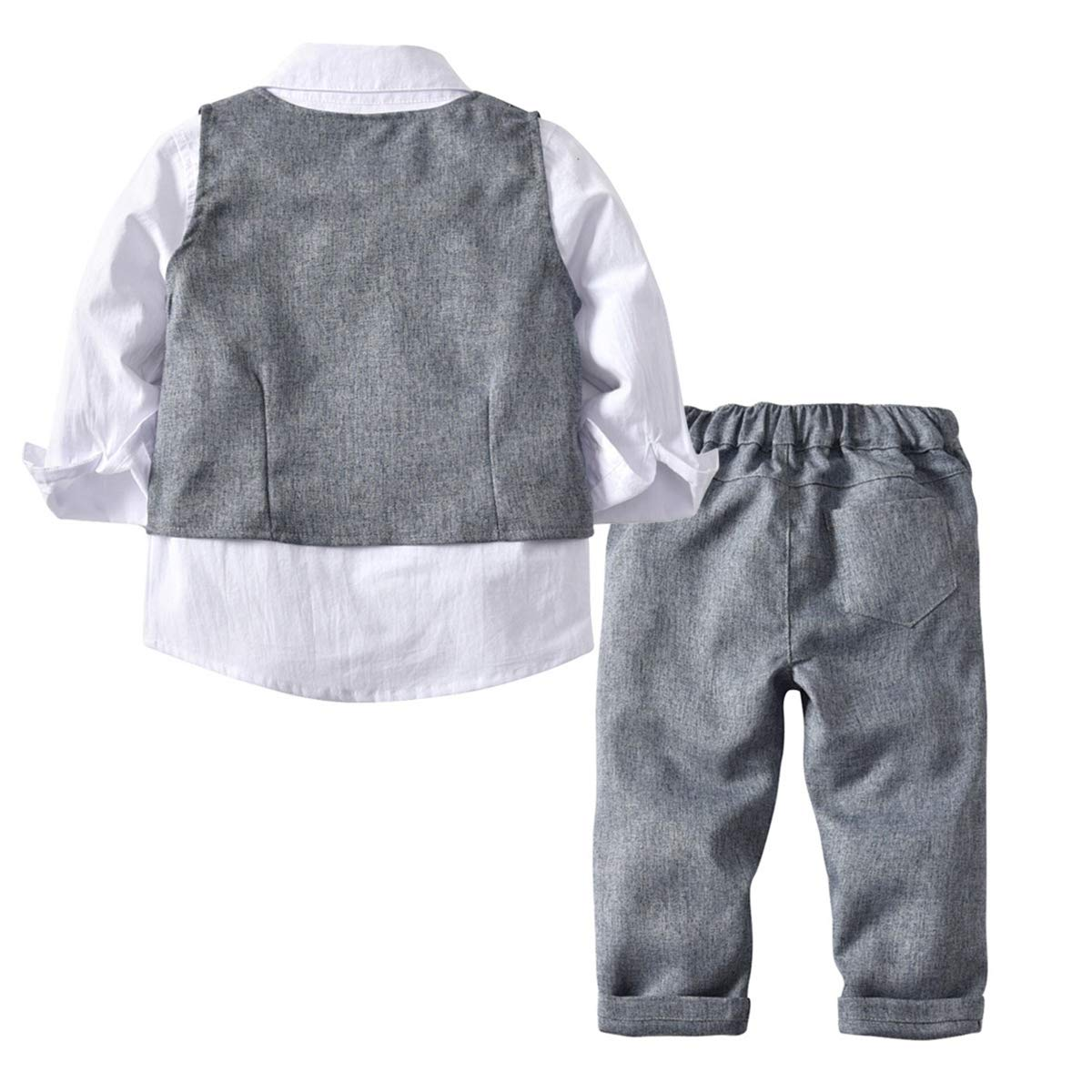AceAcr Baby Boy Gentleman Outfit Set Formal Romper Infant Tuxedo Dress Suits Vest with Bow Tie 4PCS Dresswear White