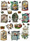 Vintage Victorian Birdcages Collage Sheet Art Images for Decoupage, Scrapbooking, Jewelry Making