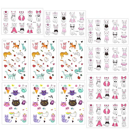 Temporary Tattoos for Girls Kids Women(180pcs), Konsait Cute Kitty Cat Tattoos Waterproof Body Art Sticker Great Birthday Party Favors Kids Party Accessories Goodie Bag Stuffers Party Fillers Gift -