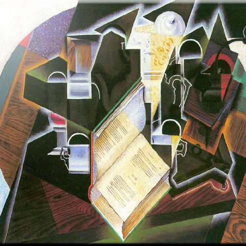 Rikki Knight 12' x 12' Juan Gris Pipe Book and Glasses Design Ceramic Art Tile