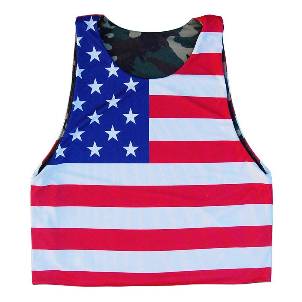 American Flag /& Army Camo Lacrosse Sublimated Reversible Pinnie
