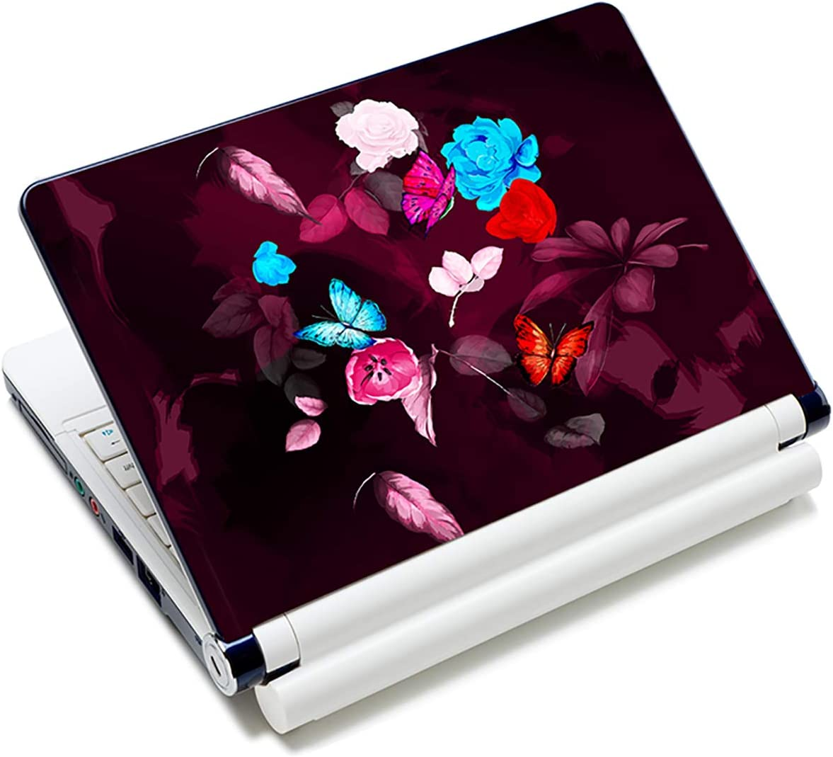 Laptop Stickers Decal,12 13 14 15 15.6 inches Netbook Laptop Skin Sticker Reusable Protector Cover Case for Toshiba Hp Samsung Dell Apple Acer Leonovo Sony Asus Laptop Notebook (Butterfly & Flower)