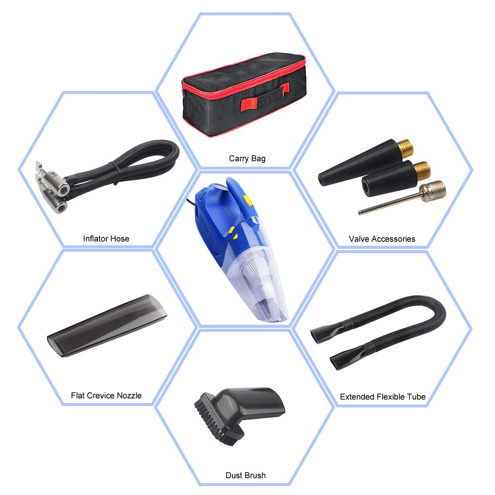 DC 12V 150W Strong Suction Wet Dry Auto Vacuum with LED Light /& Air Compressor /& Tire Pressure Gauge Function Car Vacuum NFYOI Car Vacuum Cleaner Portable Handheld Vacuum for Car 16.4ft Power Cord 5558969695