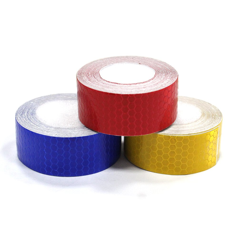 3Pcs 2.5cmx5m(1''x196'') Honeycomb Self-Adhesive Safety refelctive Tape Warning Tape Reflector Tape Security Marking Tape Waterproof for car/Trailers/Truck/Traffic/Construction site(Red,Blue,Gold)
