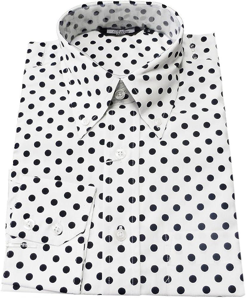 Relco - Camisa de hombre negra a lunares blancos diseño vintage. blanco blanco XXL: Amazon.es: Ropa y accesorios