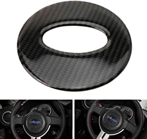 iJDMTOY Black Real Carbon Fiber Steering Wheel Center Decoration Trim Compatible With 2013-up Subaru BRZ, 2013-2016 Scion FR-S and 2017-up Toyota 86