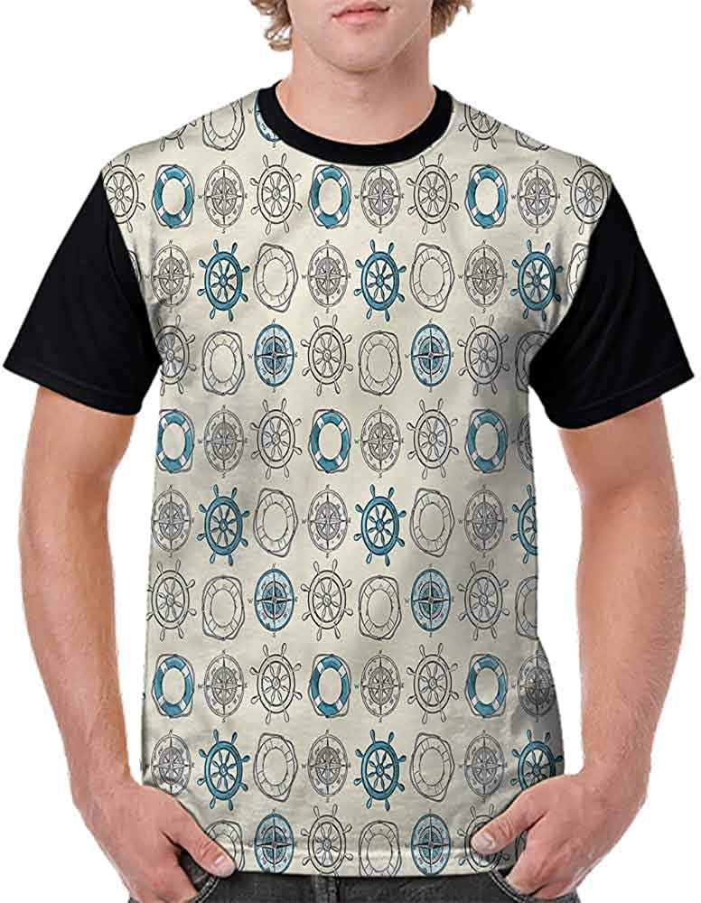 Cotton T-Shirt,Helm Life Buoy Anchor Fashion Personality Customization