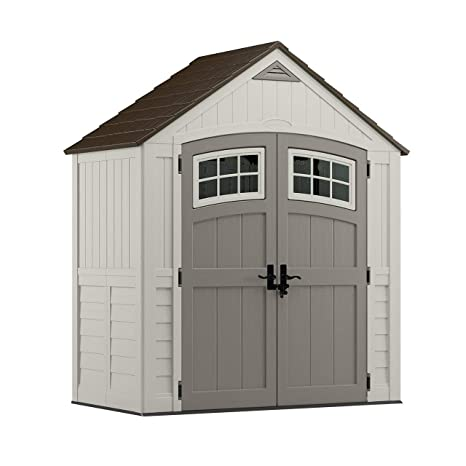 Suncast 6' x 3' Cascade Storage Shed - Outdoor Storage for Backyard Tools  and Accessories - All-Weather Resin Material, Transom Windows and Shingle