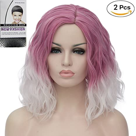 ATAYOU® Short Curly Ombre Sintético Cosplay Bob Pelucas Para Mujer Fancy  Dress con 1 Gorro 2d9525975e66