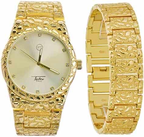 Men's Fashion Analog Iced Out Heavy Metal Band Watch & Bracelet SET WM 8364