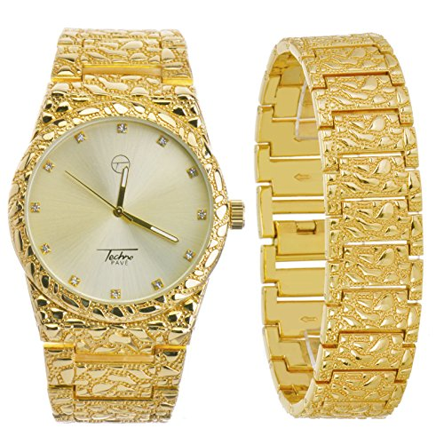 Men's Nugget Analog Iced Out Heavy Metal Band Watch & Bracelet SET WM 8364 (Gold Toned)