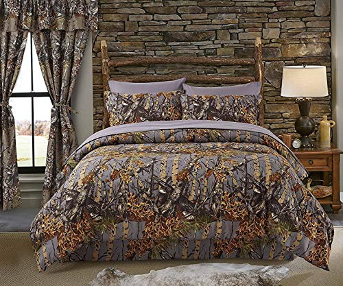 Hemau The Woods Grey Camouflage King 8pc Premium Luxury Comforter, Sheet, Pillowcases, and Bed Skirt Set Camo Bedding Set for Hunters Cabin or Rustic Lodge Teens Boys and Girls | Style 503193765