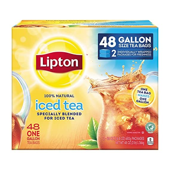 Lipton Gallon-Sized Black Iced Tea Bags, Unsweetened, 48 ct 1 Refreshing Lipton iced black tea from these convenient gallon-size bags Made with real tea leaves specially blended for iced tea Naturally Tasty & Refreshing Lipton Iced Black Tea is the perfect addition to any meal