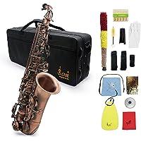 ammoon Profesional Red Bend Bronce Eb E-flat Alto saxofón Abulón Shell Dominante Patrón Carve con el Caso Guantes Paño…