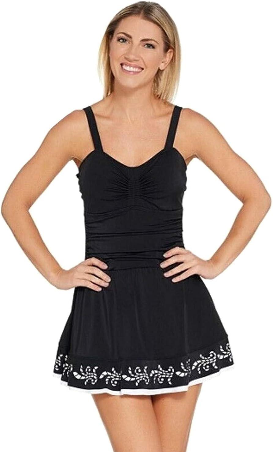 Beach Ruched Laser Cut Hem Plus Size Swimdress Swimsuit Denim /& Co