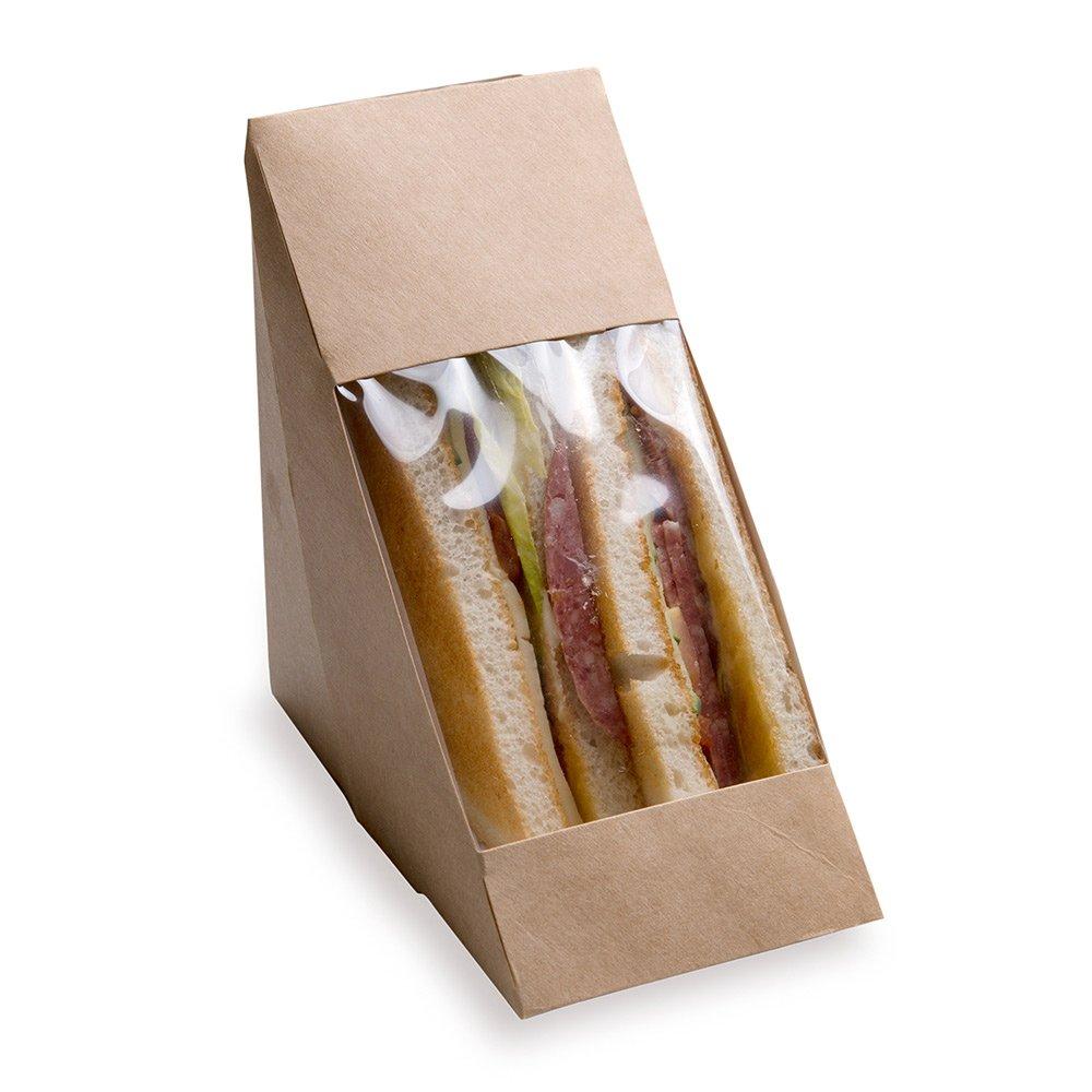 Sandwich Wedge Box, Sandwich Take Out Box - Eco-Friendly Triangle Sandwich Box with Window - Brown - 25ct Box - Restaurantware