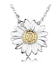 S& E Women's Fashion Jewelry Sunflower Shape Sterling Silver Pendant Necklace with Chain