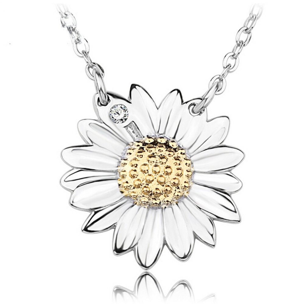S& E Women's Fashion Jewelry Sunflower Shape Sterling Silver Pendant Necklace with Chain Seven And Eight