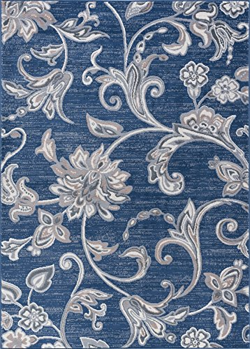 Rectangle Navy Rug (Garland Transitional Floral Navy Rectangle Area Rug, 7.6' x 10')