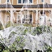 900 sqft Spider Webs Halloween Decorations Bonus with 30 Fake Spiders, Super Stretch Cobwebs for Halloween Ind