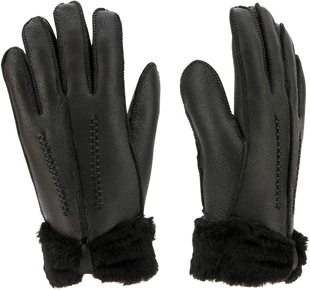 Winter Warm Women Fur Wool Sheepskin Gloves Outdoor Leather Full Finger Mittens