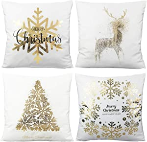 All Smiles Merry Christmas Gold White Throw Pillow Covers Cases 18X18 Set of 4 Snowflakes Decorations Xmas Décor Stamping Print Soft Velvet Cushion for Sofa Bed,Christmas Decorative Tree Deer