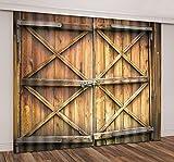 LB Rustic Barn Door 3D Blackout Window Curtains,Vintage Farmhouse Door Window Treatment Decorative Living Room Bedroom Window Drapes 2 Panels,28 By 65 inch Length
