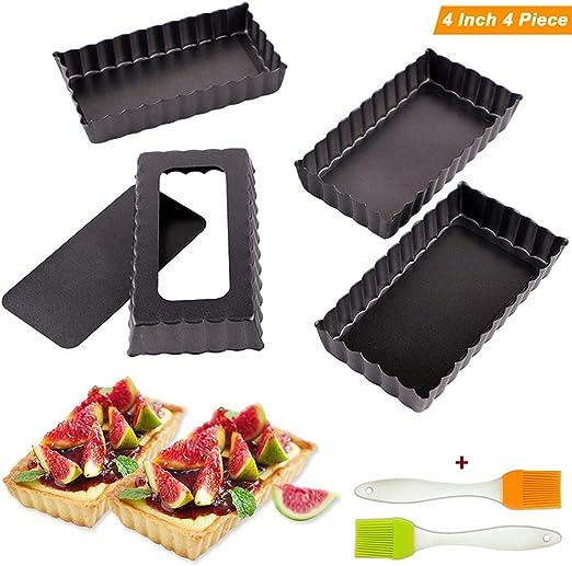 4 Set//Black 4 Inch Tart Pie Pans Mini Rectangular Baking Pan Quiche Pie Pans with Non-Stick Removable Bottom Steel Set